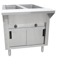 Advance Tabco SW-2E-DR-T Two Pan Electric Hot Food Table with Thermostatic Control, Enclosed Base, and Sliding Doors - Sealed Well, 120V
