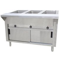 Advance Tabco SW-3E-DR-T Three Pan Electric Hot Food Table with Thermostatic Control, Enclosed Base, and Sliding Doors - Sealed Well, 208/240V