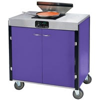 Lakeside 2065 Creation Express Mobile Cooking Cart with 1 Induction Burner, 1 Filtration Unit, and Purple Laminate Finish - 22 inch x 34 inch x 40 1/2 inch