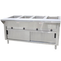 Advance Tabco SW-4E-DR-T Four Pan Electric Hot Food Table with Thermostatic Control, Enclosed Base, and Sliding Doors - Sealed Well