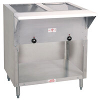 Advance Tabco SW-2E-BS-T Two Pan Electric Hot Food Table with Thermostatic Control and Enclosed Base - Sealed Well