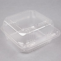 Durable Packaging PXT-600 6 inch x 6 inch x 3 inch Clear Hinged Lid Plastic Container - 125/Pack