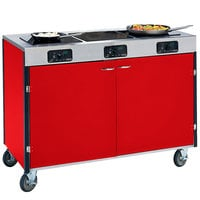 Lakeside 2080 Creation Express Mobile Cooking Cart with 3 Induction Burners, No Exhaust Filtration, and Red Laminate Finish - 22 inch x 48 inch x 35 1/2 inch