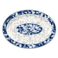 Blue Dragon 14 inch x 10 inch Oval Melamine Platter - 12/Pack