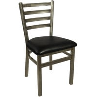BFM Seating 2160CBLV-CL Lima Steel Side Chair with 2 inch Black Vinyl Seat and Clear Coat Frame