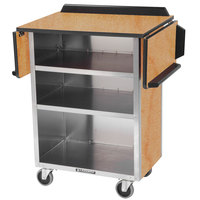 Lakeside 672 Stainless Steel Drop-Leaf Beverage Service Cart with 3 Shelves and Light Maple Laminate Finish - 33 1/8 inch x 21 inch x 38 1/4 inch