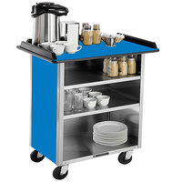 Lakeside 678 Stainless Steel Beverage Service Cart with 3 Shelves and Royal Blue Laminate Finish - 40 3/4 inch x 24 inch x 38 1/4 inch