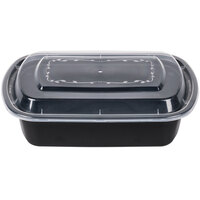 38 oz. Black 7 3/4 inch x 5 inch x 1 3/4 inch Rounded End Microwavable Container with Lid - 150 / Case