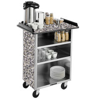 Lakeside 636 Stainless Steel Beverage Service Cart with 3 Shelves and Gray Sand Laminate Finish - 30 1/4 inch x 21 inch x 38 1/4 inch