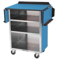 Lakeside 672 Stainless Steel Drop-Leaf Beverage Service Cart with 3 Shelves and Royal Blue Laminate Finish - 33 1/8 inch x 21 inch x 38 1/4 inch