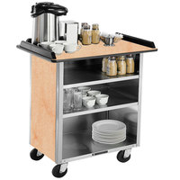 Lakeside 678 Stainless Steel Beverage Service Cart with 3 Shelves and Light Maple Laminate Finish - 40 3/4 inch x 24 inch x 38 1/4 inch
