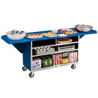 Lakeside 676 Stainless Steel Drop-Leaf Beverage Service Cart with 3 Shelves and Royal Blue Laminate Finish - 61 3/4 inch x 24 inch x 38 1/4 inch