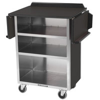 Lakeside 672 Stainless Steel Drop-Leaf Beverage Service Cart with 3 Shelves and Black Laminate Finish - 33 1/8 inch x 21 inch x 38 1/4 inch