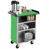 Lakeside 636 Stainless Steel Beverage Service Cart with 3 Shelves and Green Laminate Finish - 30 1/4 inch x 21 inch x 38 1/4 inch