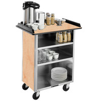 Lakeside 636 Stainless Steel Beverage Service Cart with 3 Shelves and Light Maple Laminate Finish - 30 1/4 inch x 21 inch x 38 1/4 inch