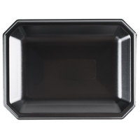 Genpak SQ11 Premium 11 1/2 inch X 8 1/2 inch Laminated Black Rectangular Foam Platter - 400/Case