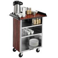 Lakeside 636 Stainless Steel Beverage Service Cart with 3 Shelves and Red Maple Laminate Finish - 30 1/4 inch x 21 inch x 38 1/4 inch