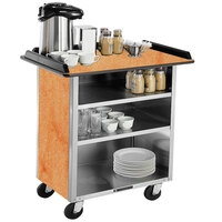 Lakeside 678 Stainless Steel Beverage Service Cart with 3 Shelves and Hard Rock Maple Laminate Finish - 40 3/4 inch x 24 inch x 38 1/4 inch