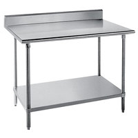 "Advance Tabco KMS-246 24"" x 72"" 16 Gauge Stainless Steel Commercial Work Table with 5"" Backsplash and Undershelf"