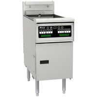 Pitco SE14T-VS7 40-50 lb. Split Pot Solstice Electric Floor Fryer with 7 inch Touchscreen Controls - 17kW