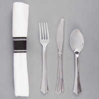 Silver Visions 17 inch x 17 inch Pre-Rolled Linen-Feel White Napkin and Silver Heavy Weight Plastic Cutlery Set - 100 / Case