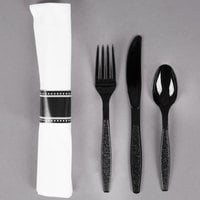 Visions 17 inch x 17 inch White Pre-Rolled Linen-Feel Napkin and Black Heavy Weight Plastic Cutlery Set - 25 / Pack