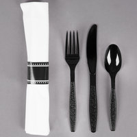 Visions 17 inch x 17 inch Pre-Rolled Linen-Feel White Napkin and Black Heavy Weight Plastic Cutlery Set - 25 / Pack