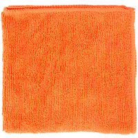12 inch x 12 inch Orange Microfiber Cleaning Cloth - 12 / Pack