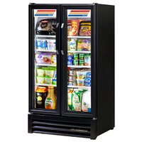 True GDM-30-LD Black Glass Swing Door Merchandiser Refrigerator with LED Lighting