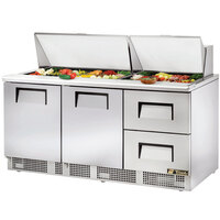 True TFP-72-30M-D-2 72 inch Two Door / Two Drawer Sandwich / Salad Prep Refrigerator