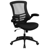 Mid-Back Black Mesh Office Chair with Flip-Up Arms and Nylon Base