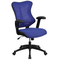 High-Back Blue Mesh Executive Office Chair with Padded Seat and Nylon Base