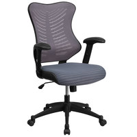 High-Back Gray Mesh Executive Office Chair with Padded Seat and Nylon Base