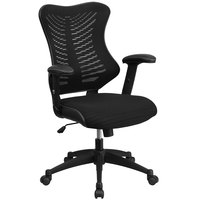 High-Back Black Mesh Executive Office Chair with Padded Seat and Nylon Base