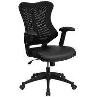 High-Back Black Mesh Executive Office Chair with Leather Seat and Nylon Base