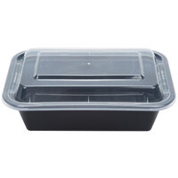 24 oz. Black 7 inch x 5 inch x 2 inch Rectangular Microwavable Container with Lid - 10/Pack