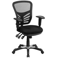 Mid-Back Black Mesh Office Chair with Triple Paddle Control and Infinite-Locking Back Angle