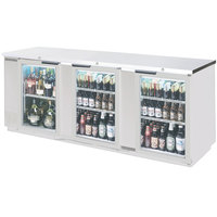 Beverage-Air BB72GSY-1-S-27-PT-LED 72 inch Stainless Steel Glass Door Pass-Through Back Bar Refrigerator with 2 inch Stainless Steel Top