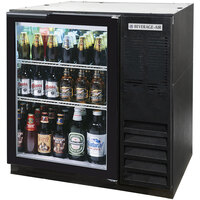 Beverage-Air BB36G-1-B-27 36 inch Black Glass Door Back Bar Refrigerator with 2 inch Stainless Steel Top