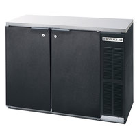 Beverage-Air BB48Y-1-B-27-PT 48 inch Black Solid Door Pass-Through Back Bar Refrigerator with 2 inch Stainless Steel Top