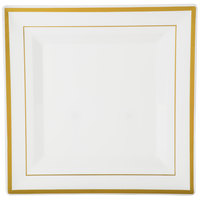 Fineline Silver Splendor 5510-BO 10 inch Bone / Ivory Plastic Square Plate with Gold Bands - 120 / Case