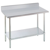 16 Gauge Advance Tabco KLAG-303-X 30 inch x 36 inch Stainless Steel Work Table with 5 inch Backsplash and Galvanized Undershelf