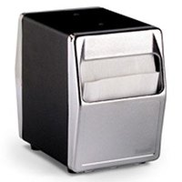 Vollrath 6509-06 Two Sided Tabletop Lowfold Napkin Dispenser with Chrome Faceplate - Black