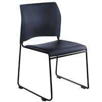 National Public Seating 8704-10-04 Blue Stackable Cafetorium Chair with Black Frame