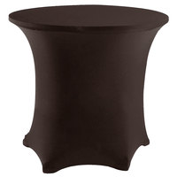 Snap Drape CC48R-CHOCOLATE Contour Cover 48 inch Round Chocolate Spandex Table Cover