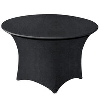 Snap Drape EMBCC66R-BLACK Contour Cover 66 inch Round Black Embossed Deco Spandex Table Cover