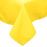 54 inch x 72 inch Yellow 100% Polyester Hemmed Cloth Table Cover