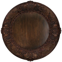 The Jay Companies 14 inch Round Brown Embossed Polypropylene Charger Plate