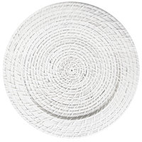 The Jay Companies 13 inch Round White Rattan Charger Plate
