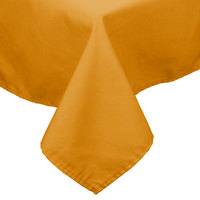 54 inch x 81 inch Gold 100% Polyester Hemmed Cloth Table Cover